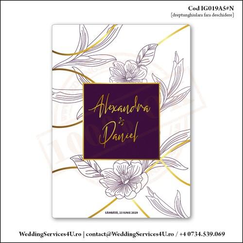 IG019A5#N Invitatie de Nunta Florala Purple Gold Cod IG019A56#N