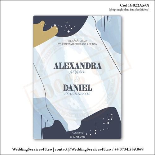 IG022A5#N Invitatie de Nunta Abstracta cu Design in Nuante de Albastru Cod IG022A56#N