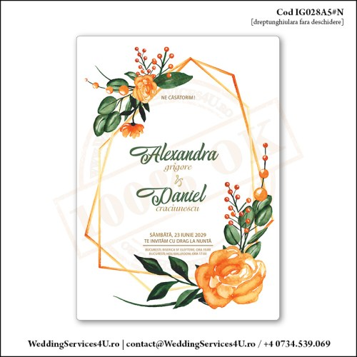 IG028A5#N Invitatie de Nunta Orange Nature gen Watercolor Painting (Acuarela) Cod IG028A56#N