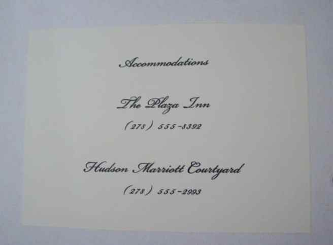 wedding invitation enclosure accommodations
