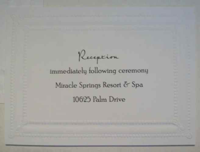 wedding invitation enclosure reception card