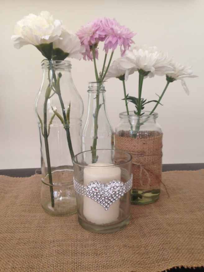 floral centerpiece in bud vases
