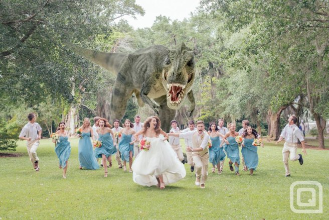 tyrannosaurus rex wedding photo by quinn miller