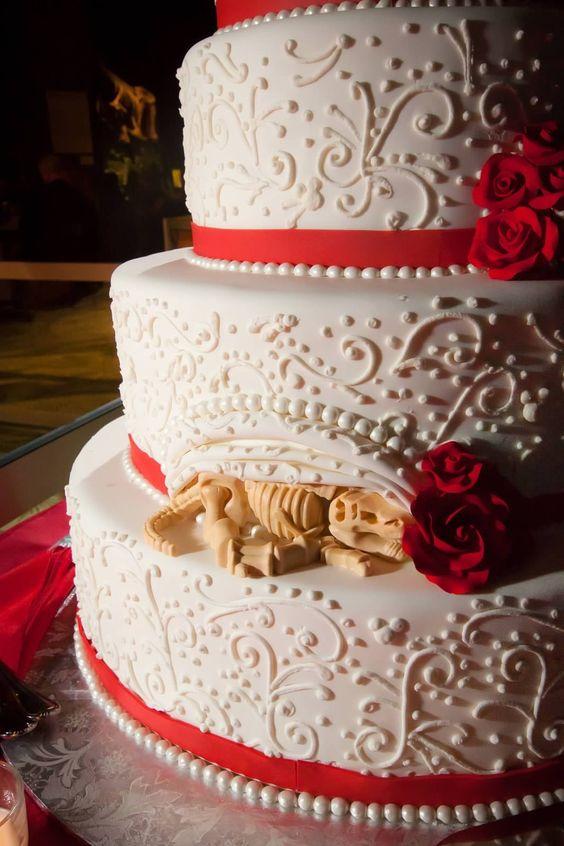 Hidden Dinosaur on Wedding Cake