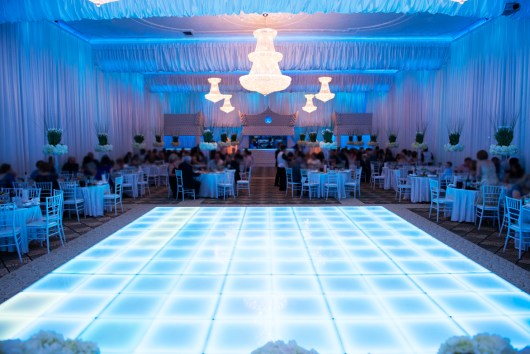 blue lighting wedding reception
