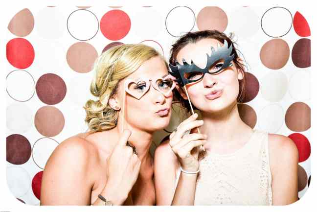 photo booth wedding party bridesmaids girls