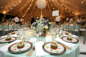 Wedding Reception With Decor, Centerpiece, and Food