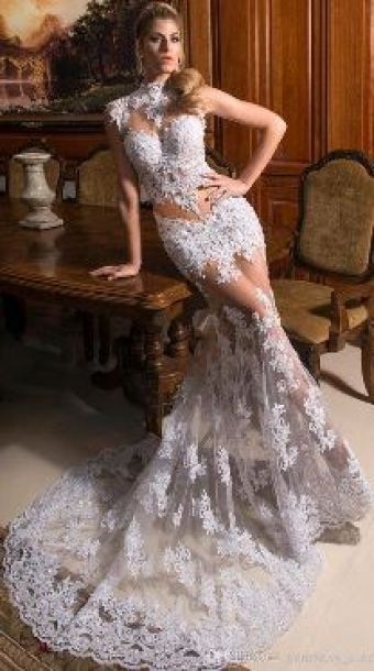 2018 Wedding Trends - mermaid style sheer see-through wedding dress gown