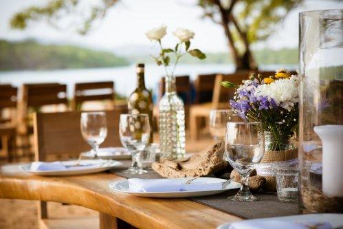 beach wedding reception table