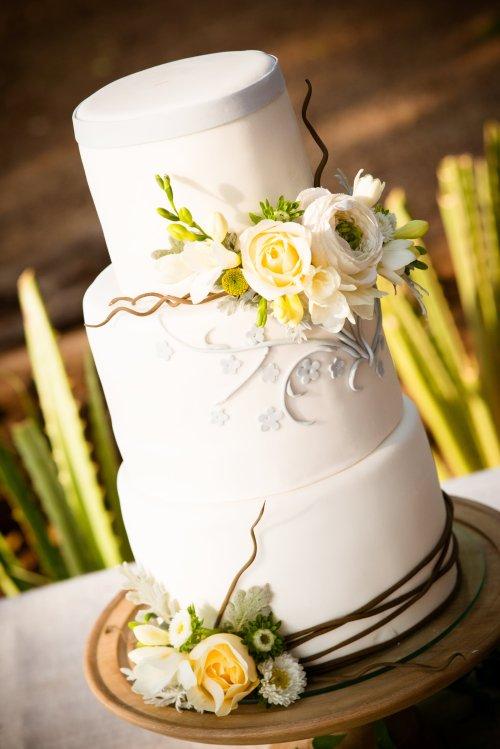 yellow gray branches fondant wedding cake