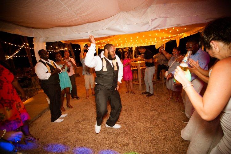 dancers at beach wedding
