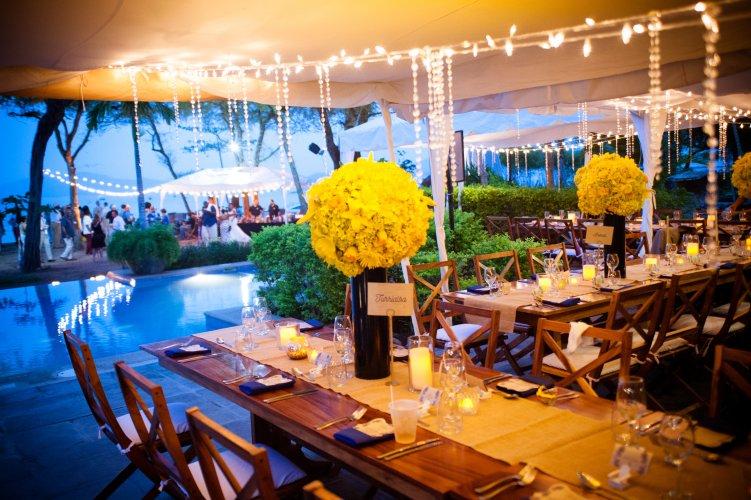Blue and yellow wedding reception Costa Rica