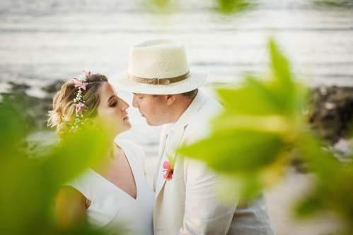 beach wedding bride groom