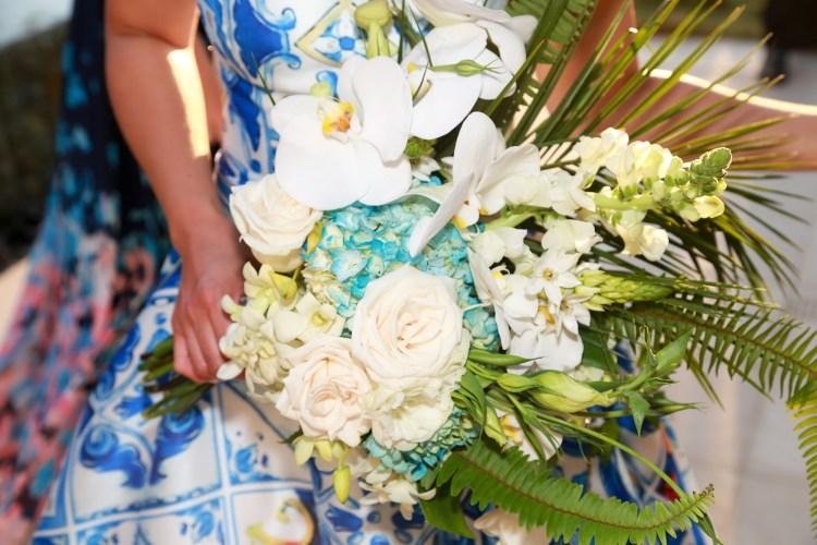 bridal-bouquet-cascading-blue-hydrangea-orchid-rose