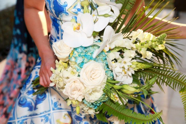 bridal-bouquet-cascading-blue-hydrangea-orchid-rose