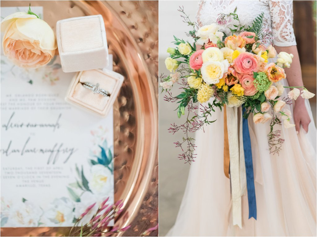 spring wedding details by parie designs and hatched studio in amarillo wedding