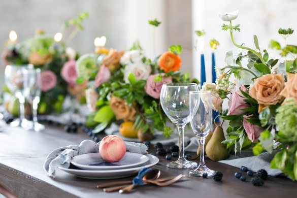Romantic Wedding tablescape by poppies and peonies design