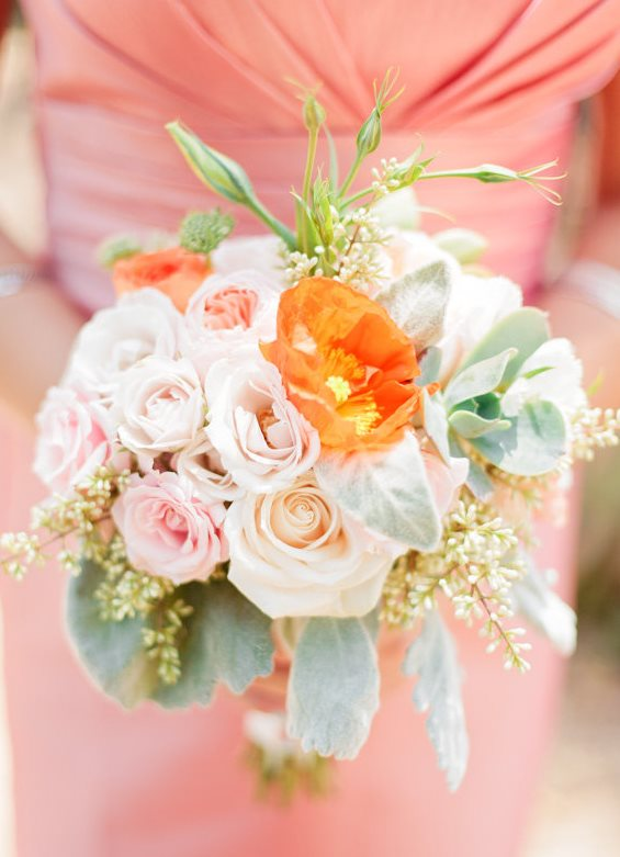 Peach bridesmaids dress with rustic garden bridesmaids bouquet