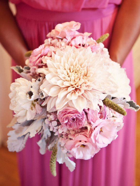 Pink Bridesmiads dress with pink white bridesmaids bouquet