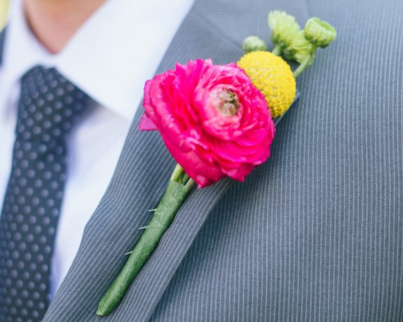 Wedding Hot Pink and Yellow Boutonniere