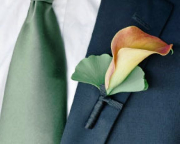 Wedding Orange Calla Lillies with touch of green
