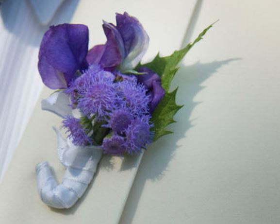 Wedding Purple Boutonniere