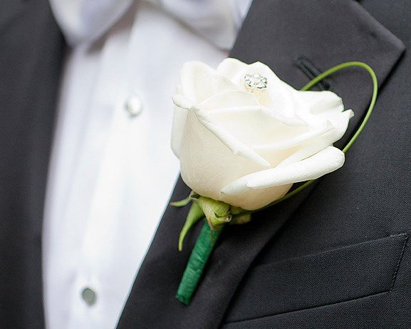 Wedding Stylish White Rose Boutonniere