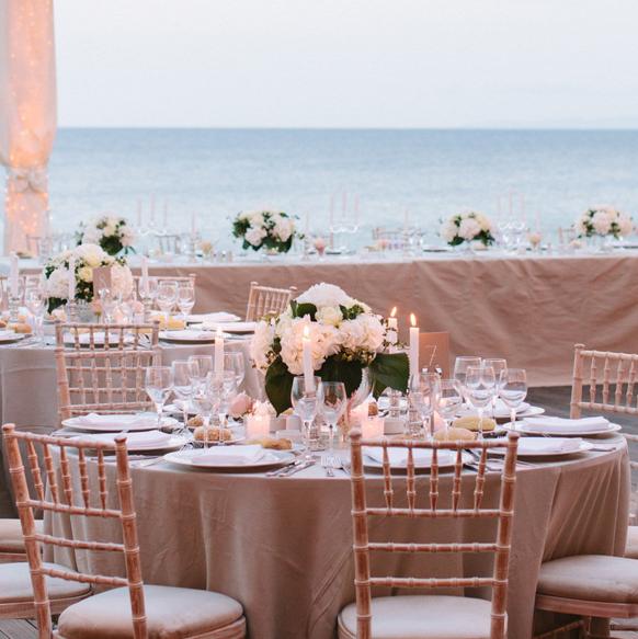 Tables Setup For A Wedding Reception