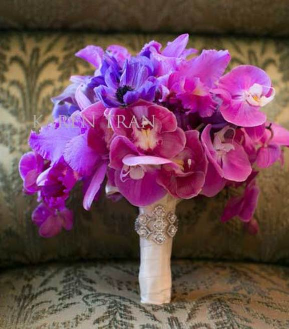 luxury purple-hot pink wedding bouquet