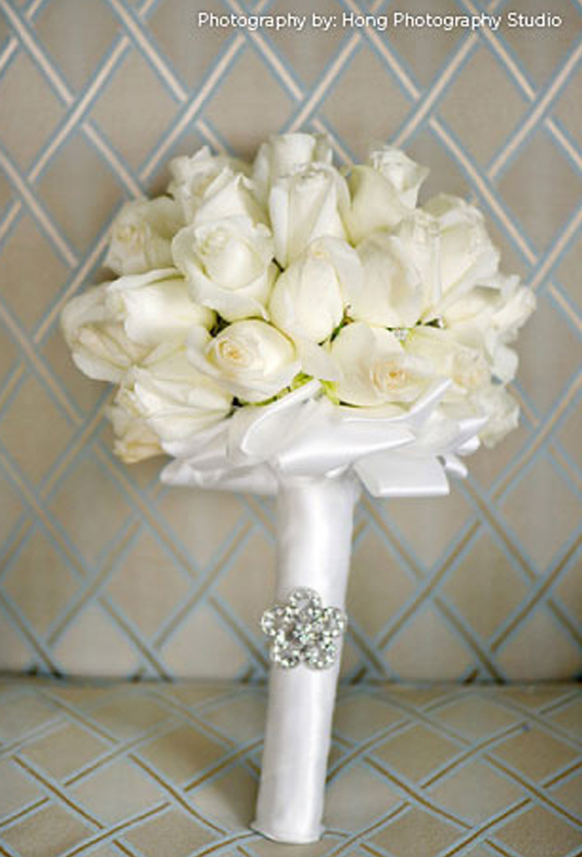 luxury white roses wedding bouquet