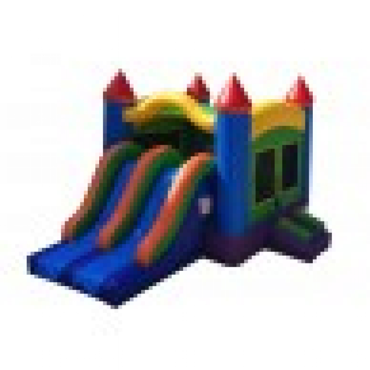 Rainbow Castle Combo Bounce House and Slide