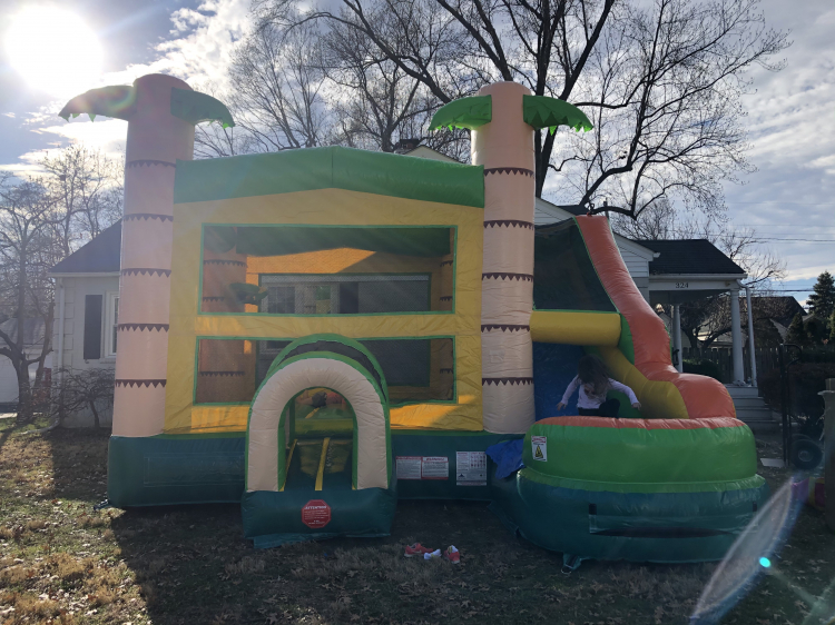 Tropical Wet / Dry Bounce House and Slide