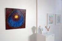 "far left: Stephen Fischer, ""Tribal"", dripped Rustoleum oil on wood panel"