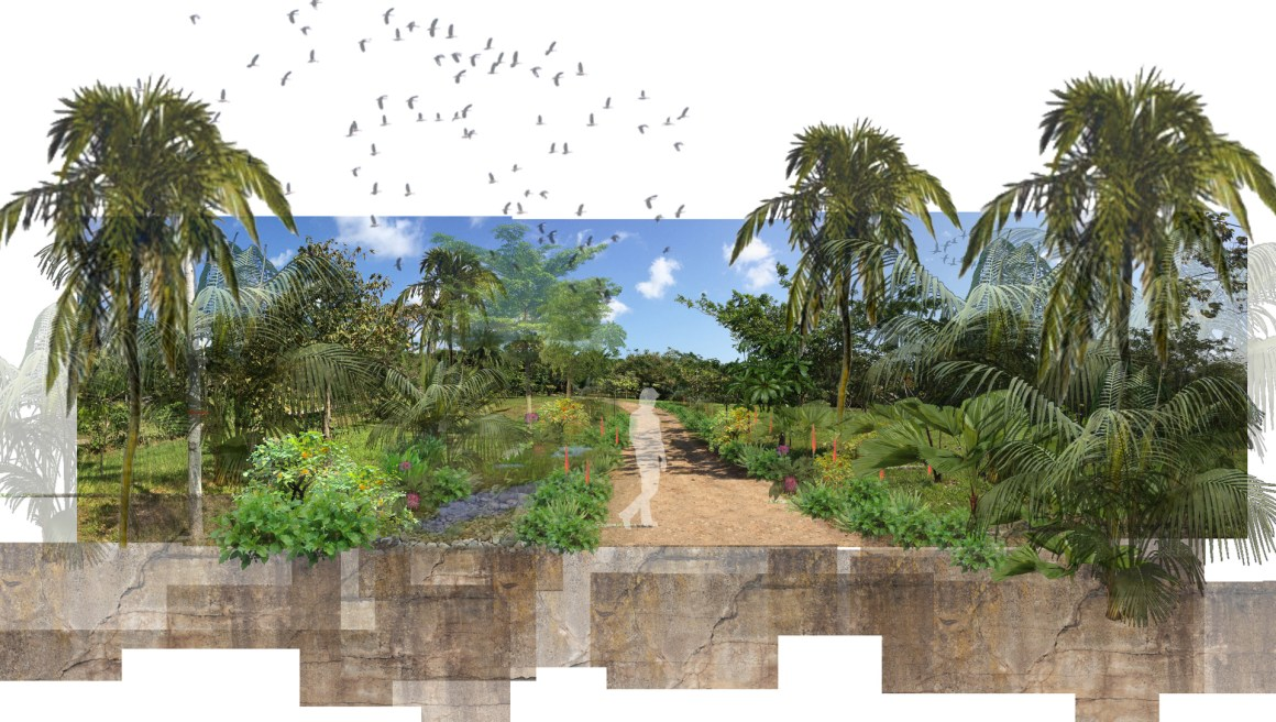 Entrance Road with Swale Planting-FLAT