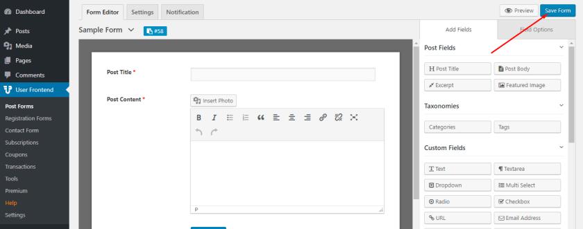 Sample Form- guest blogging using wordpress