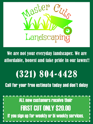 Master Cuts Landscaping Advertisement with coupon