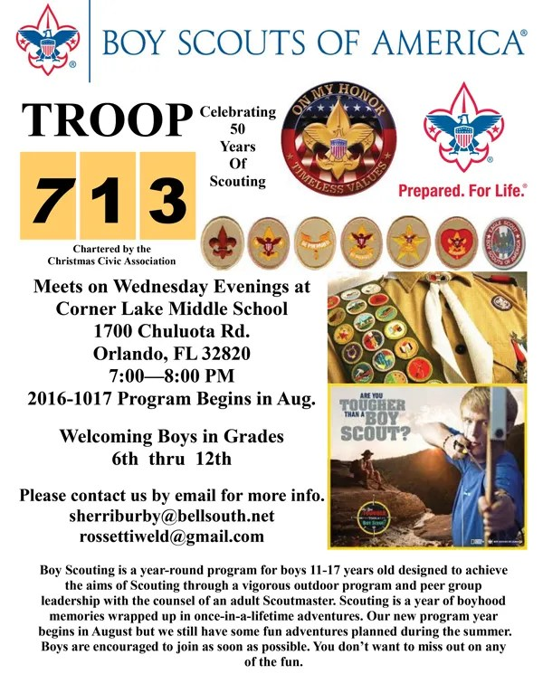Boy Scout Troop 713 Sponsored By Christmas Civic