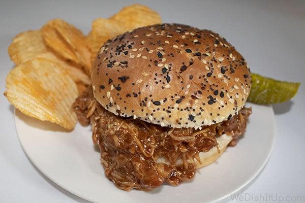 The Best Crockpot BBQ Shredded Chicken Sandwich