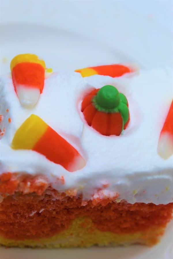 Easy Candy Corn Poke Cake