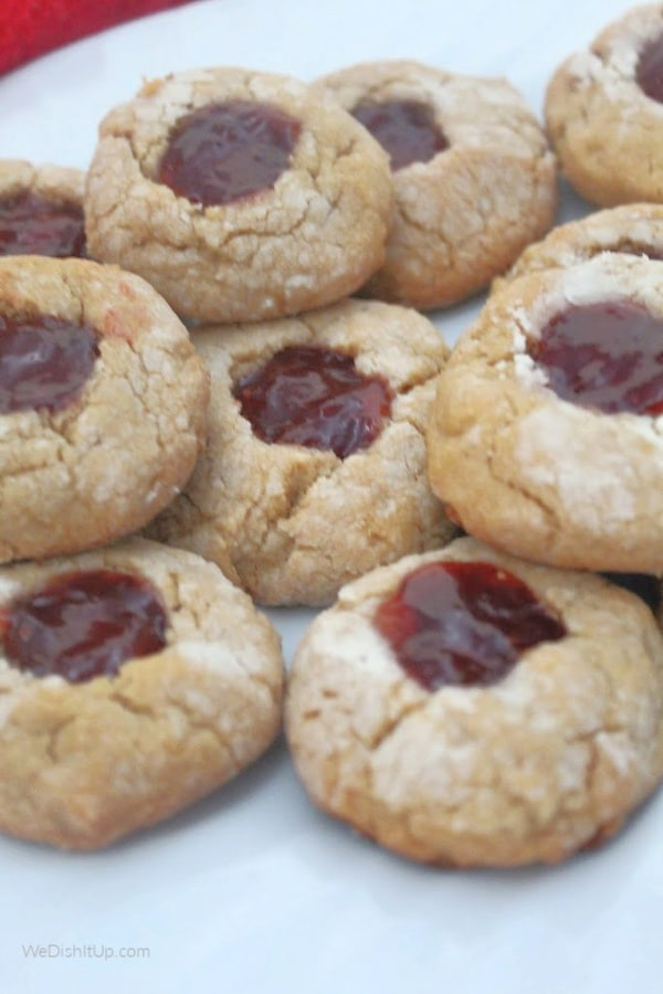 Plate of cookies Peanut Butter and Jelly Thumb Print Cookies
