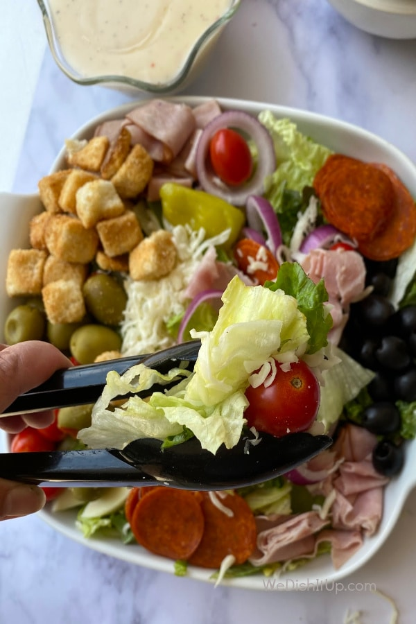 Salad with Tongs