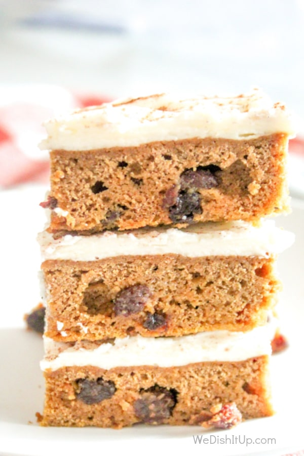 Pumpkin Bars with Raisin and Cream Cheese Frosting