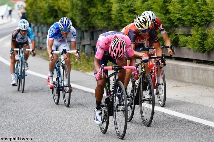 Foto LaPresse - Fabio Ferrari 27/05/2017 Asiago, Vicenza (Italia) Sport Ciclismo Giro d'Italia 2017 - 100a edizione - Tappa 20 - da Pordenone a Asiago - 190 km ( 118 miglia ) Nella foto:NIBALI Vincenzo ( ITA )( Bahrain - Merida )PINOT Thibaut ( FRA )( FDJ ) QUINTANA Nairo ( COL )( Movistar Team ) Photo LaPresse - Fabio Ferrari May 27, 2017 Asiago, Vicenza ( Italy ) Sport Cycling Giro d'Italia 2017 - 100th edition - Stage 20 - Pordenone to Asiago - 190 km ( 118 miles ) In the pic:NIBALI Vincenzo ( ITA )( Bahrain - Merida )PINOT Thibaut ( FRA )( FDJ ) QUINTANA Nairo ( COL )( Movistar Team )