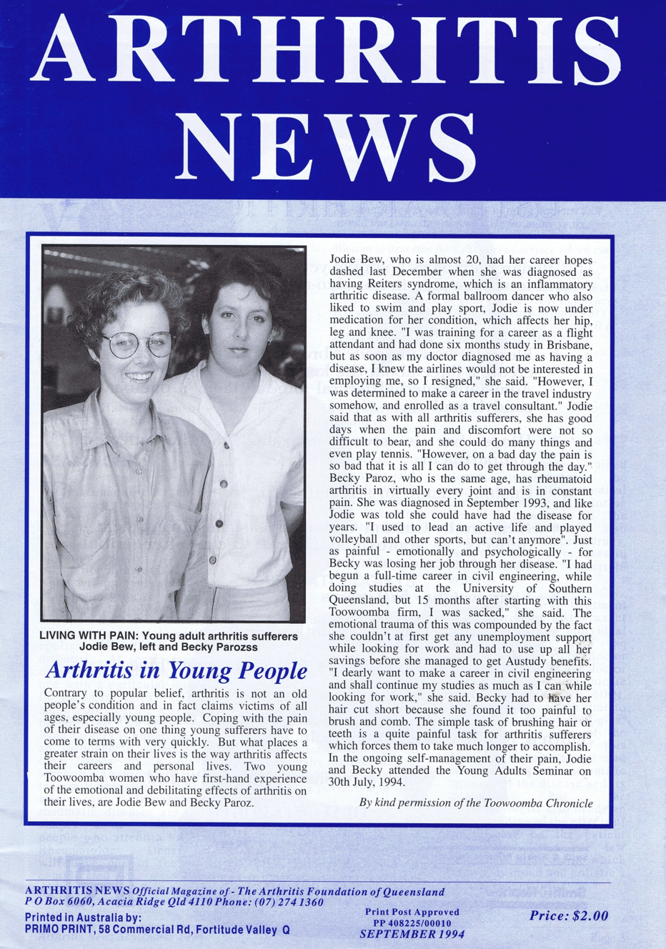 Arthritis News, 1994, with Bek Paroz