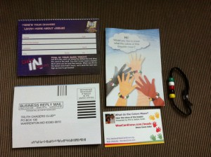 "I distribute these packets everywhere - a wonderful simple tool to share Christ with children. You can purchase tracts from CEFPress.com and learn how to make the bracelets by going to my ""beads"" page."