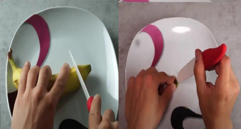 chritt 1: Bananenspitze trennen bei bongloch in bananenpfeife für kopf reinschneiden