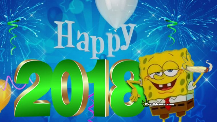 Happy 2018 Spongebob Smoke Weed For New Year Cartoon Marijuana Pic     Happy 2018 Spongebob Smoking Weed