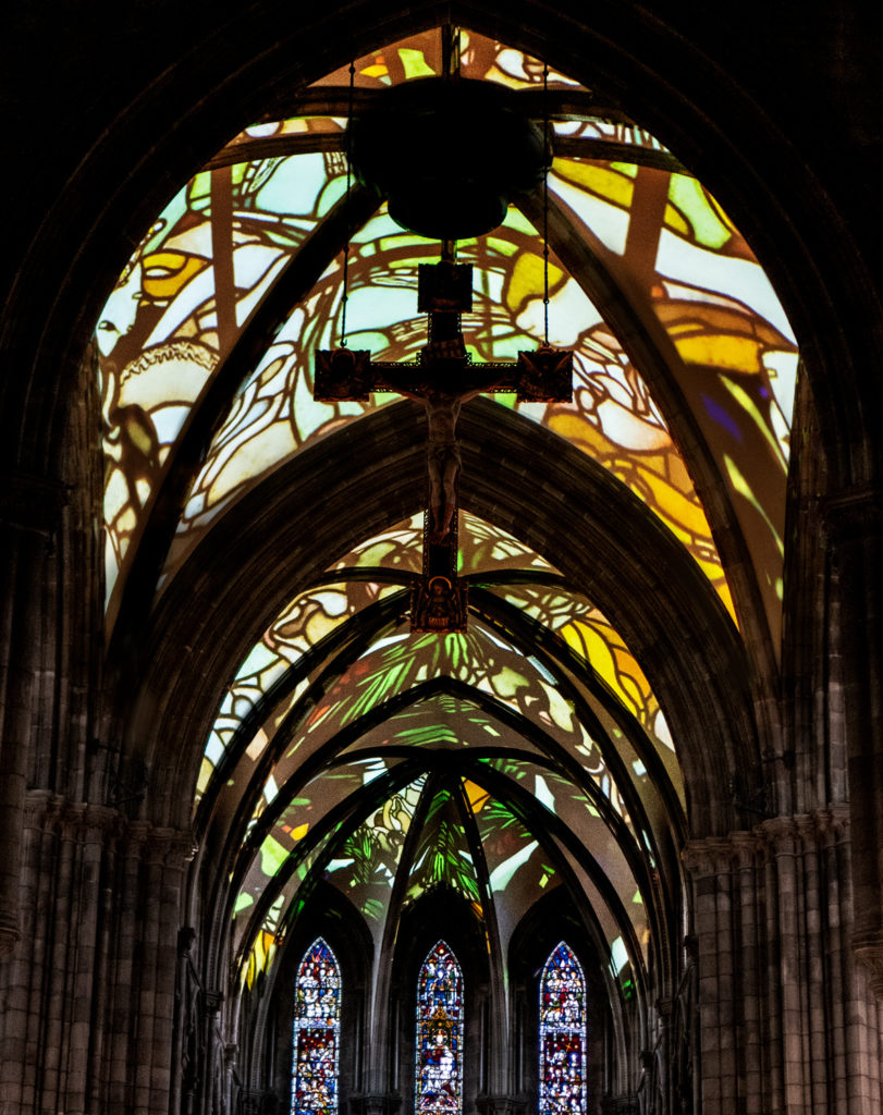 Architectural projection mapping in Edinburgh, St. Mary's Cathedral