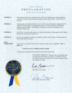 The Governor has officially proclaimed it to be Native Plant Appreciation Week!