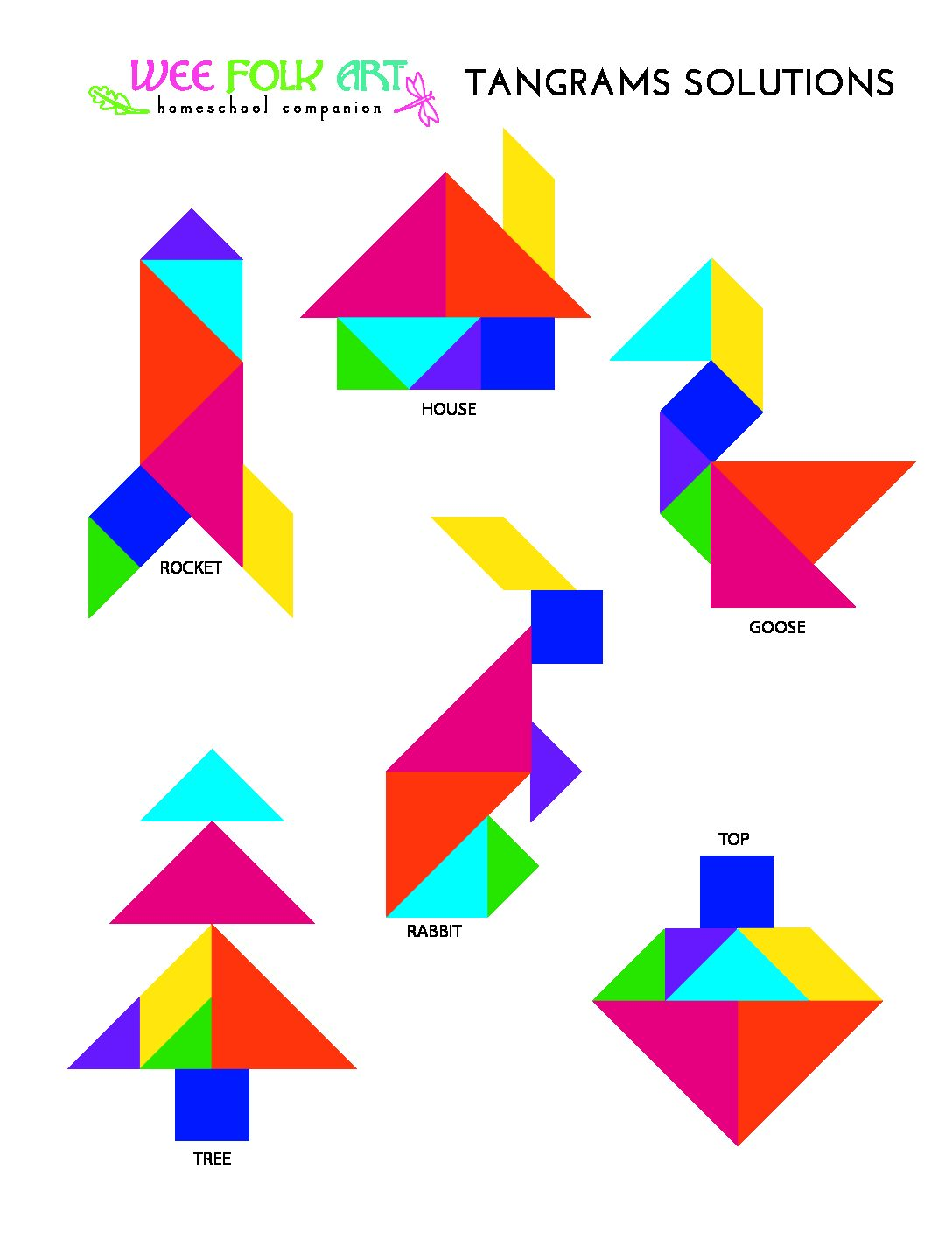 Tangrams Puzzles Solutions